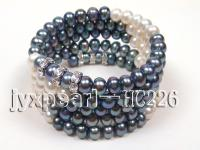 5 row black and white freshwater pearl bracelet HC226
