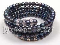 4 row 6.5mm black freshwater pearl bracelet HC227