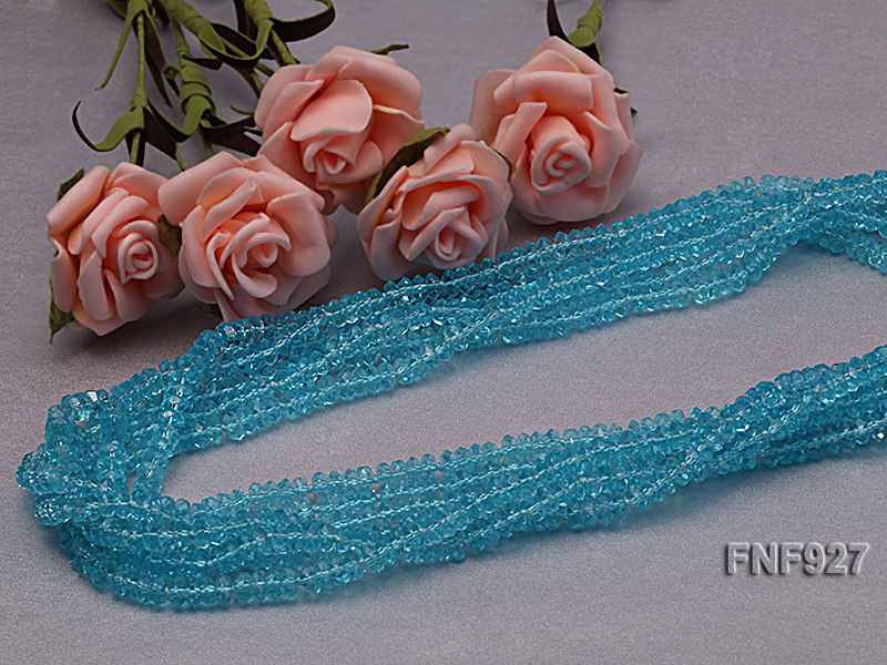 Multi-strand Blue Faceted Crystal Beads and White Freshwater Pearl Necklace big Image 4
