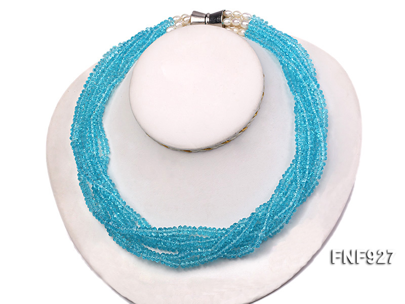 Multi-strand Blue Faceted Crystal Beads and White Freshwater Pearl Necklace big Image 2