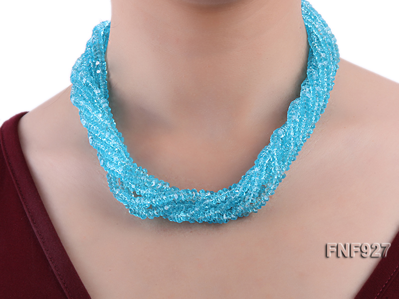 Multi-strand Blue Faceted Crystal Beads and White Freshwater Pearl Necklace big Image 6
