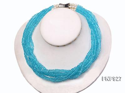 Multi-strand Blue Faceted Crystal Beads and White Freshwater Pearl Necklace FNF927 Image 2