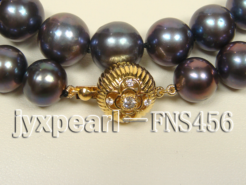 Classic 12-13mm AAAA Black Round Cultured Freshwater Pearl Necklace big Image 2