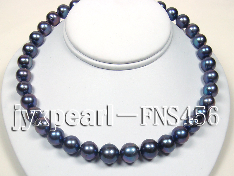 Classic 12-13mm AAAA Black Round Cultured Freshwater Pearl Necklace big Image 3