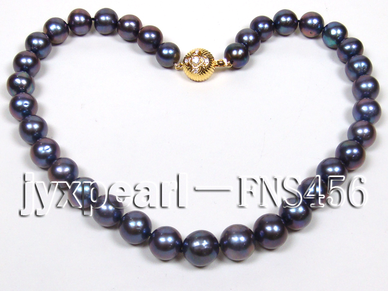 Classic 12-13mm AAAA Black Round Cultured Freshwater Pearl Necklace big Image 4