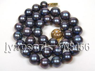 Classic 12-13mm AAAA Black Round Cultured Freshwater Pearl Necklace FNA087 Image 1