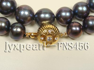 Classic 12-13mm AAAA Black Round Cultured Freshwater Pearl Necklace FNA087 Image 2