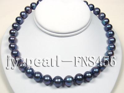 Classic 12-13mm AAAA Black Round Cultured Freshwater Pearl Necklace FNA087 Image 3