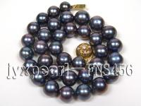 Classic 12-13mm AAAA Black Round Cultured Freshwater Pearl Necklace FNA087