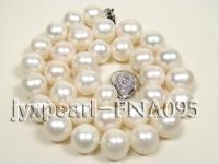 12-14mm AAA natural white round freshwater pearl necklace FNA095