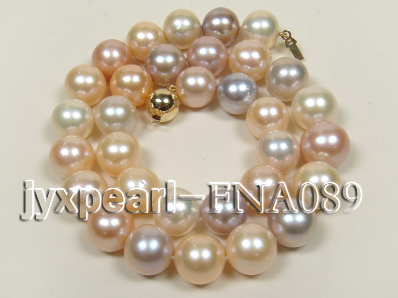 Classic 12-15mm AAAAA Multi-color Round Cultured Freshwater Pearl Necklace big Image 1