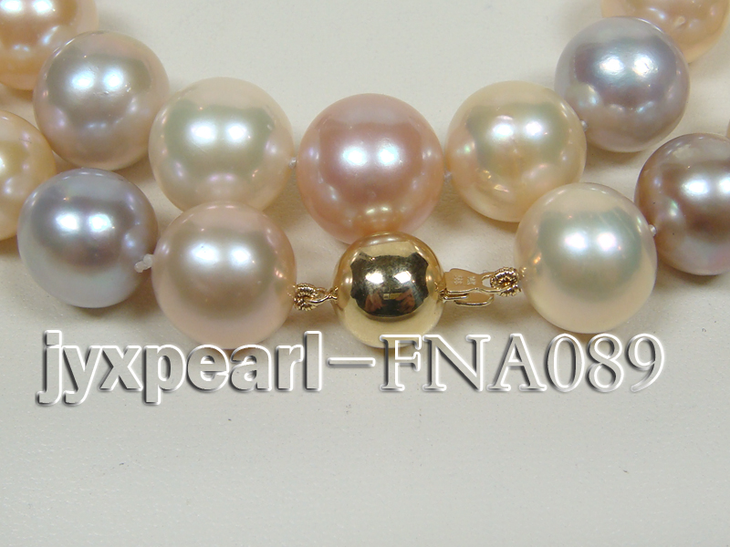 Classic 12-15mm AAAAA Multi-color Round Cultured Freshwater Pearl Necklace big Image 2