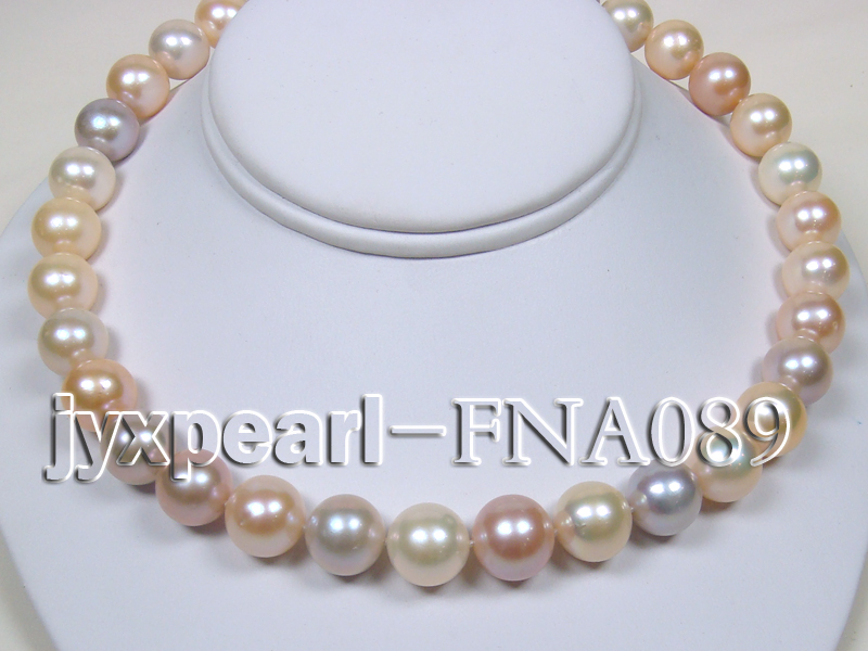 Classic 12-15mm AAAAA Multi-color Round Cultured Freshwater Pearl Necklace big Image 3