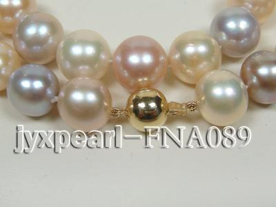 Classic 12-15mm AAAAA Multi-color Round Cultured Freshwater Pearl Necklace FNA089 Image 2