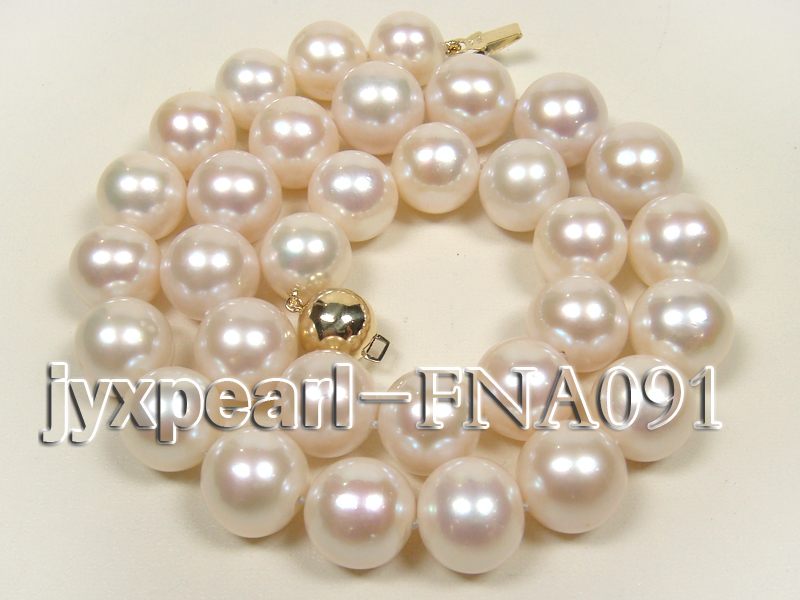 Classic 12-15mm AAAAA White Round Cultured Freshwater Pearl Necklace big Image 1