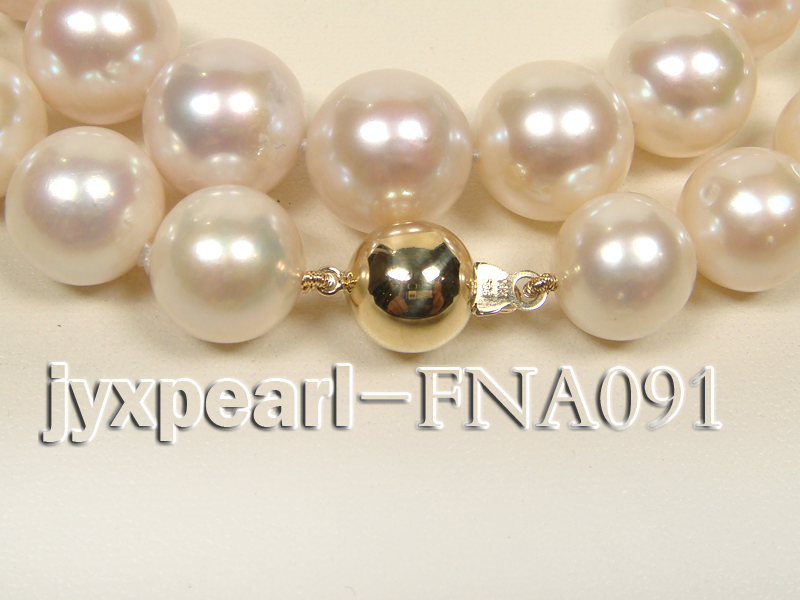 Classic 12-15mm AAAAA White Round Cultured Freshwater Pearl Necklace big Image 2