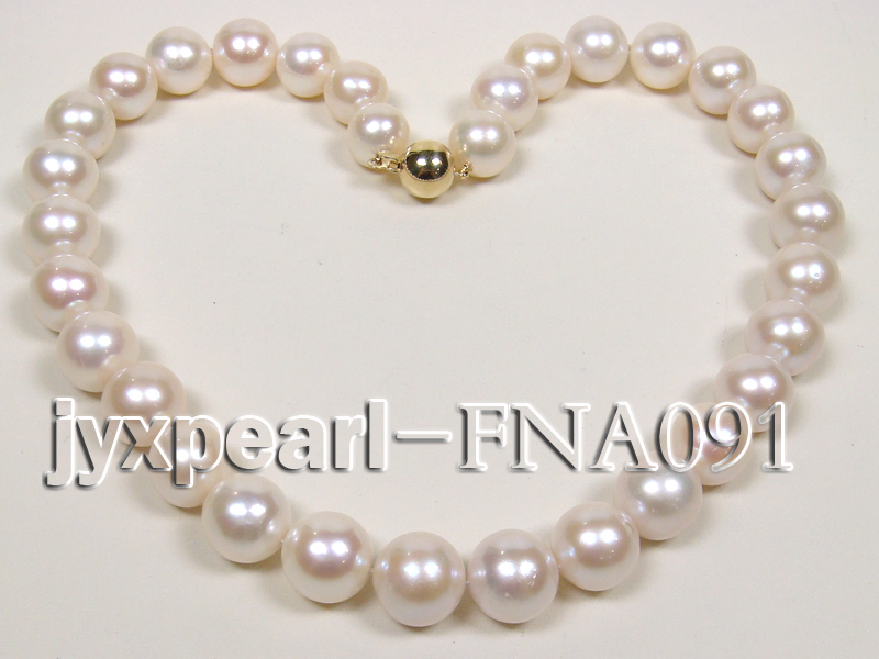 Classic 12-15mm AAAAA White Round Cultured Freshwater Pearl Necklace big Image 4