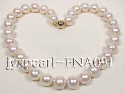 Classic 12-15mm AAAAA White Round Cultured Freshwater Pearl Necklace FNA091 Image 4