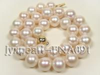 5A 12-15mm natural white with pink round freshwater pearl super quality necklace FNA091