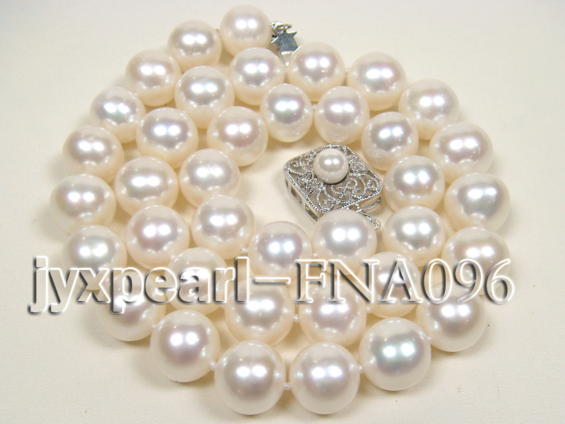 Classic 10.5-11.5mm AAA White Round Cultured Freshwater Pearl Necklace big Image 1