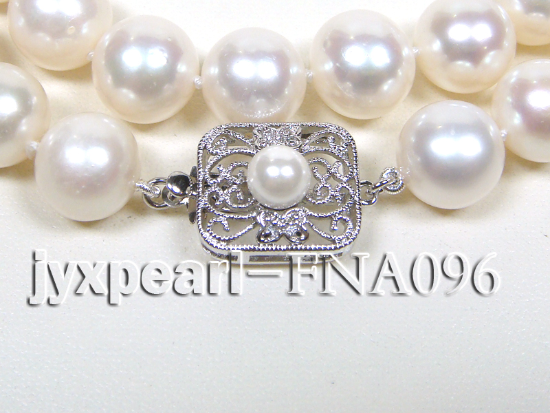 Classic 10.5-11.5mm AAA White Round Cultured Freshwater Pearl Necklace big Image 2