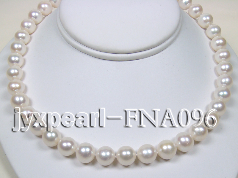 Classic 10.5-11.5mm AAA White Round Cultured Freshwater Pearl Necklace big Image 3