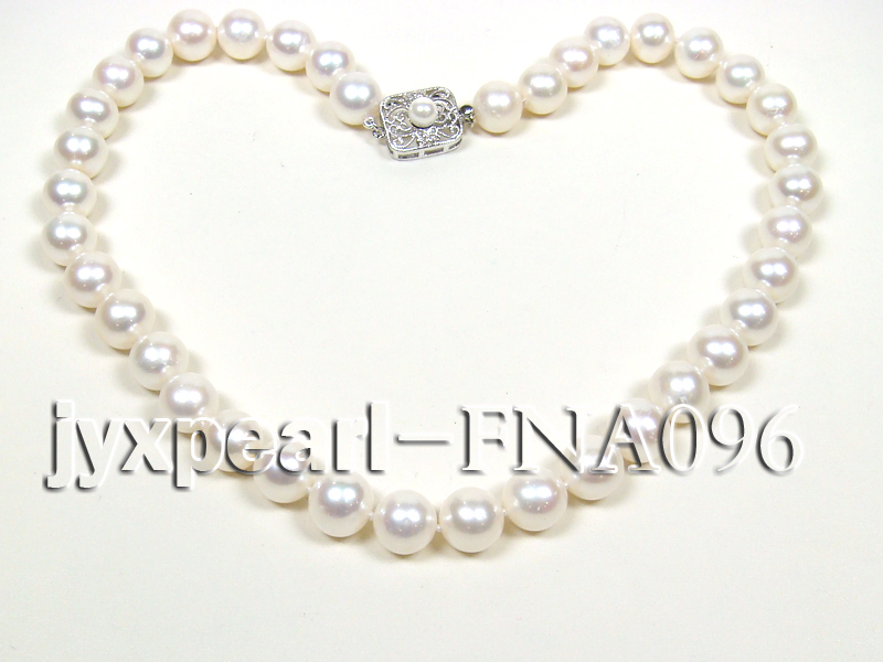 Classic 10.5-11.5mm AAA White Round Cultured Freshwater Pearl Necklace big Image 4