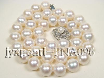 Classic 10.5-11.5mm AAA White Round Cultured Freshwater Pearl Necklace FNA096 Image 1