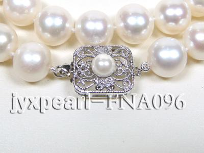 Classic 10.5-11.5mm AAA White Round Cultured Freshwater Pearl Necklace FNA096 Image 2