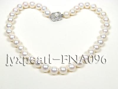 Classic 10.5-11.5mm AAA White Round Cultured Freshwater Pearl Necklace FNA096 Image 4