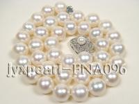 AAA natural white round freshwater pearl super quality necklace 10.5-11.5mm  FNA096