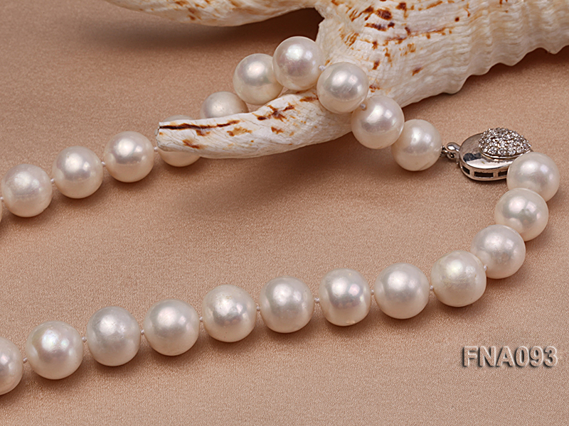 Classic 12-13mm AAA White Round Cultured Freshwater Pearl Necklace big Image 4
