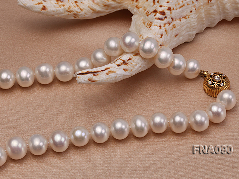 10.5-12.5mm natural white freshwater round pearl necklace big Image 4