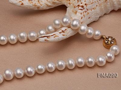 10.5-12.5mm natural white freshwater round pearl necklace FNA090 Image 4