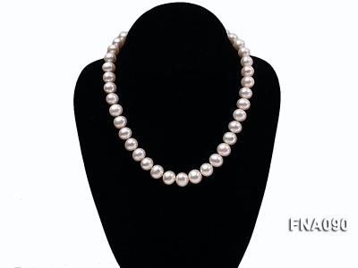 10.5-12.5mm natural white freshwater round pearl necklace FNA090 Image 6