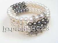 4 row white and black freshwater pearl bracelet  HC228
