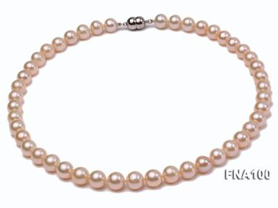 Classic 8.5-9.5mm Pink Round Cultured Freshwater Pearl Necklace FNA100 Image 1