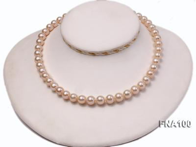 Classic 8.5-9.5mm Pink Round Cultured Freshwater Pearl Necklace FNA100 Image 5