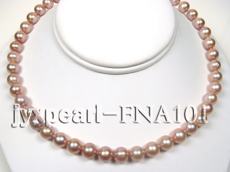Classic 8.5-9.5mm Lavender Round Cultured Freshwater Pearl Necklace big Image 4