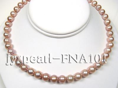 Classic 8.5-9.5mm Lavender Round Cultured Freshwater Pearl Necklace FNA101 Image 4