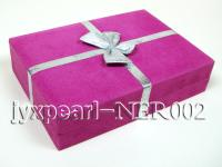 Rosy Suede Fabric Jewelry Set Box with an Argent Bowknot NER002