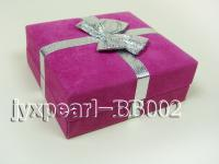 Rosy Suede Fabric Bracelet Box with an Argent Bowknot BB002