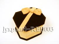 Coffee Velvet Ring & Earring Box with a Golden Bowknot REB003