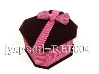 Claret Velvet Ring & Earring Box with a Pink Bowknot REB004