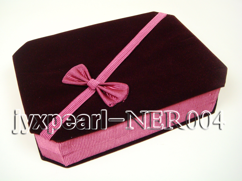Dark Red Velvet Jewelry Set Box with a Pink Bowknot big Image 1