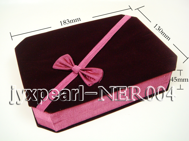 Dark Red Velvet Jewelry Set Box with a Pink Bowknot big Image 2