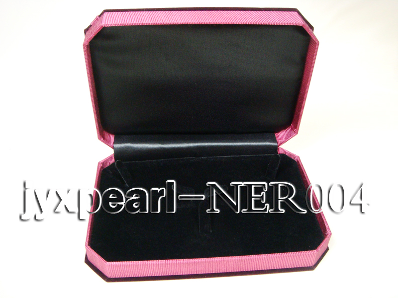 Dark Red Velvet Jewelry Set Box with a Pink Bowknot big Image 3