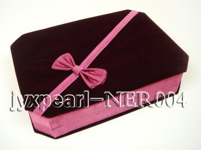 Dark Red Velvet Jewelry Set Box with a Pink Bowknot NER004 Image 1