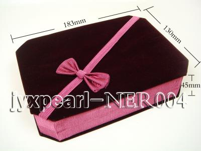 Dark Red Velvet Jewelry Set Box with a Pink Bowknot NER004 Image 2