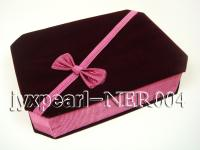 Dark Red Velvet Jewelry Set Box with a Pink Bowknot NER004